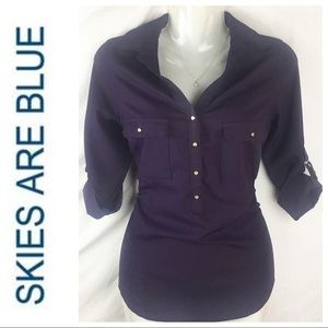 Skies Are Blue Womens Purple Top Size XS